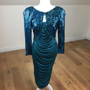 Vintage 80's Sequin Ruched Bodycon Cocktail Dress